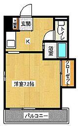 ファビラスマンション 3階1Kの間取り