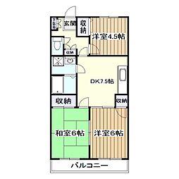 東京都東大和市高木1丁目の賃貸マンションの間取り