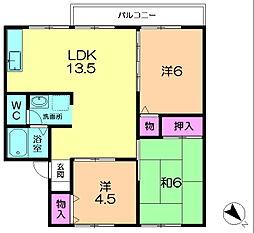 奈良県奈良市朱雀1丁目の賃貸アパートの間取り