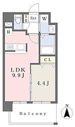 ランドマーク原 6階1LDKの間取り