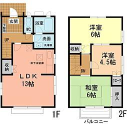[テラスハウス] 東京都八王子市松木 の賃貸【東京都 / 八王子市】の間取り