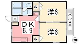 兵庫県姫路市網干区北新在家の賃貸アパートの間取り