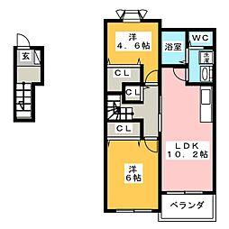 静岡県静岡市駿河区下川原5丁目の賃貸アパートの間取り