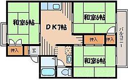 広島県広島市東区牛田東2丁目の賃貸アパートの間取り