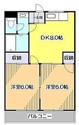 東京都東大和市湖畔1丁目の賃貸マンションの間取り
