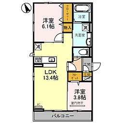 仮称D-room北区百舌鳥西之町 3階2LDKの間取り