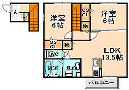 兵庫県伊丹市中野東2丁目の賃貸アパートの間取り