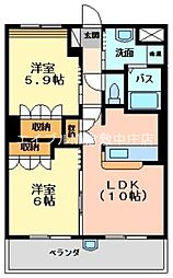 岡山県倉敷市福田町古新田丁目なしの賃貸マンションの間取り