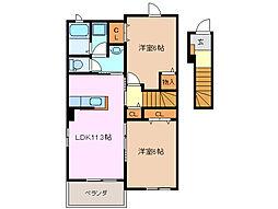 三重県四日市市松本6丁目の賃貸アパートの間取り