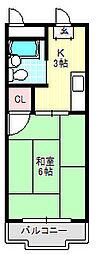 コーポタカハシB[3階]の間取り