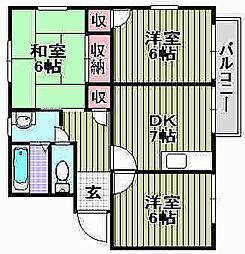 ハイツUNO[B101号室]の間取り