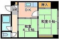 岡山県岡山市北区中央町の賃貸マンションの間取り