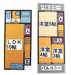 東浅香山貸家 1階3LDKの間取り