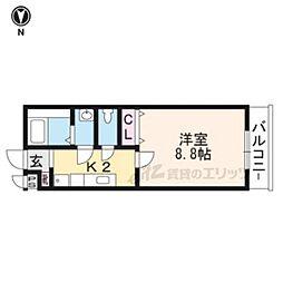 京阪本線 藤森駅 徒歩5分の賃貸マンション 2階1Kの間取り