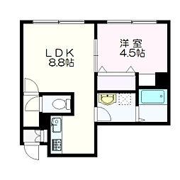 クレーデル新札幌[103号室]の間取り