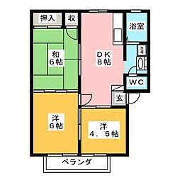 ベルゾーネ木町 B棟[2階]の間取り