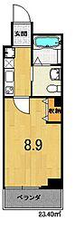 フラッティK&S千本寺之内 3階1Kの間取り