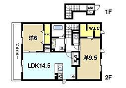 (仮称)D-room西九条町3丁目[(仮称)D-room西201号室]の間取り