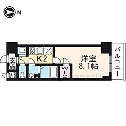 エスプレイス京都RAKUNAN705 7階1Kの間取り