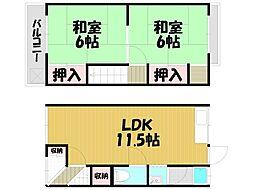 [テラスハウス] 大阪府大東市灰塚4丁目 の賃貸【/】の間取り
