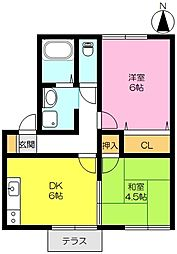 佐賀県佐賀市神野西4丁目の賃貸アパートの間取り