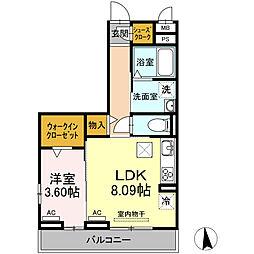 愛知環状鉄道 大門駅 徒歩10分の賃貸アパート 2階1DKの間取り