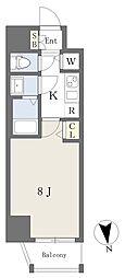 アースマンズ大阪城 7階1Kの間取り