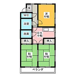 コーポ杉坂[2階]の間取り