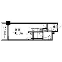 パルティーレEXE片平タワー 9階ワンルームの間取り