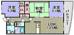 大阪府和泉市唐国町2丁目の賃貸マンションの間取り