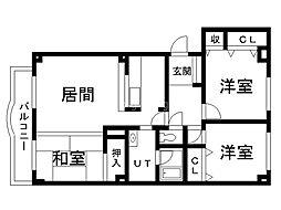 エスティ三番舘 1号館 2階3LDKの間取り