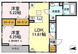東武伊勢崎線 堀切駅 徒歩6分の賃貸アパート 1階2LDKの間取り