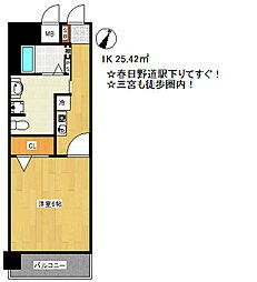 兵庫県神戸市中央区国香通1丁目の賃貸マンションの間取り