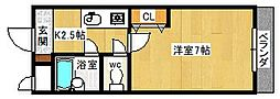 大阪府八尾市北本町1丁目の賃貸マンションの間取り