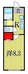 JR総武線 西船橋駅 徒歩21分の賃貸アパート 1階1Kの間取り