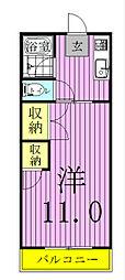 コーポ東中新宿[202号室]の間取り
