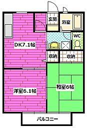 広島県安芸郡熊野町神田の賃貸アパートの間取り