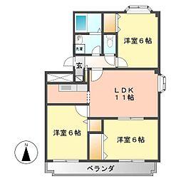 愛知県名古屋市西区赤城町の賃貸マンションの間取り