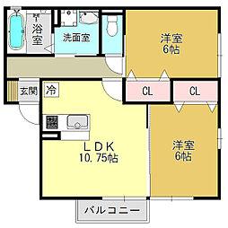 奈良県葛城市柿本の賃貸アパートの間取り