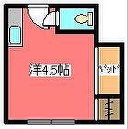 JR京浜東北・根岸線 川口駅 徒歩18分の賃貸マンション 2階ワンルームの間取り