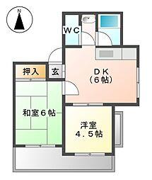 愛知県稲沢市稲島11丁目の賃貸マンションの間取り