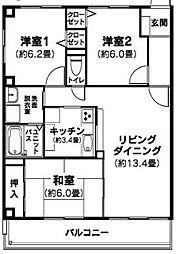 愛媛県松山市岩崎町2丁目の賃貸マンションの間取り