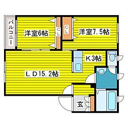 北海道札幌市東区北十二条東13丁目の賃貸アパートの間取り