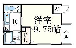 アクロス芦屋西アパートメント 2階1Kの間取り