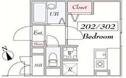 仮)SANPOHSO 2階ワンルームの間取り