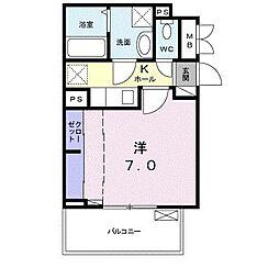 サンガーデン武庫川 3階1Kの間取り