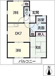 瑞穂パ−クハイツ C棟[2階]の間取り