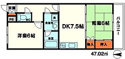 メゾンサーバン 3階2DKの間取り