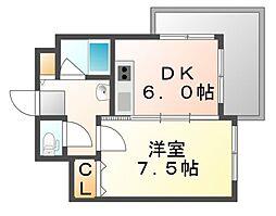 広島県福山市南蔵王町6の賃貸マンションの間取り