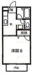 和山ハイツII[203号室]の間取り